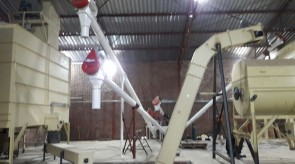 Moreson Incline ratler being installed from Batching scale to Mixer